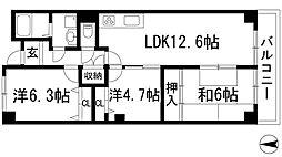 兵庫県川西市笹部1丁目の賃貸マンションの間取り