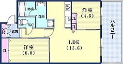 JR東海道・山陽本線 三ノ宮駅 徒歩7分の賃貸マンション 7階2LDKの間取り