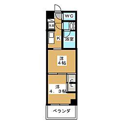 グランド・ガーラ東大島 5階2Kの間取り