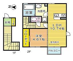 D-room片野新町[2階]の間取り
