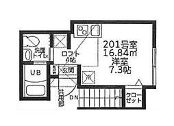 コートハウス溝の口B[201号室]の間取り