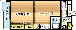 福岡県北九州市若松区古前1丁目の賃貸マンションの間取り