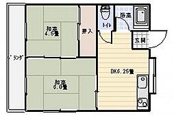 広島県広島市西区楠木町4丁目の賃貸アパートの間取り