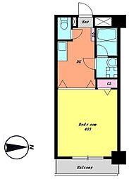 JR中央線 国分寺駅 徒歩3分の賃貸マンション 4階1DKの間取り