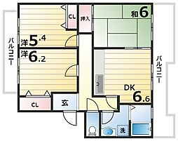 井吹東シティコート12号棟 2階3DKの間取り