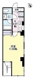 東京メトロ日比谷線 神谷町駅 徒歩1分の賃貸マンション 6階1Kの間取り