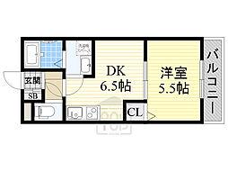 京阪本線 森小路駅 徒歩4分の賃貸アパート 2階1DKの間取り
