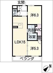 ウイング緑花台II[1階]の間取り
