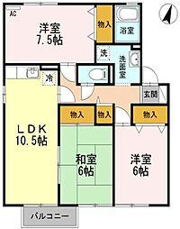 セジュール岡本 E棟[2階]の間取り