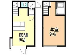 サンテラス東札幌 1階1LDKの間取り