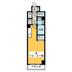(仮称)元今泉マンション 10階1Kの間取り