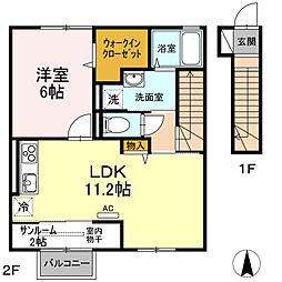 (仮称)D-room桜谷[203号室]の間取り