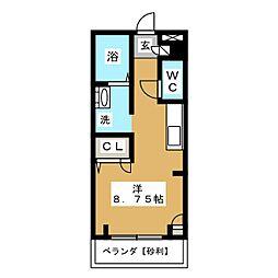 ルシミエント B[1階]の間取り