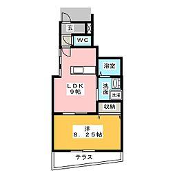 Foret Kochino(フォーレ古知野) 1階1LDKの間取り