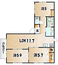 シャーメゾン新高田[1階]の間取り