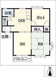タウン梅里C.D棟[2階]の間取り