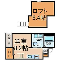 愛知県名古屋市昭和区鶴舞3丁目の賃貸アパートの間取り