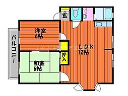 岡山県総社市中央4丁目の賃貸アパートの間取り