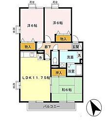 23番館A[A205号室]の間取り
