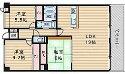 カーサローザ 3階3LDKの間取り