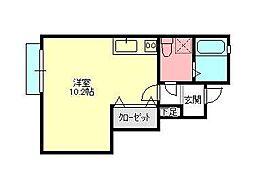 テアトルB棟 1階ワンルームの間取り