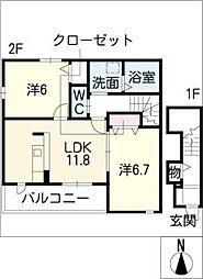 愛知県豊川市蔵子6丁目の賃貸アパートの間取り