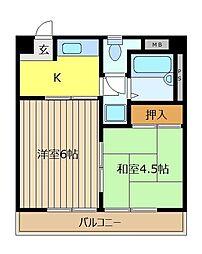 埼玉県新座市馬場4丁目の賃貸マンションの間取り