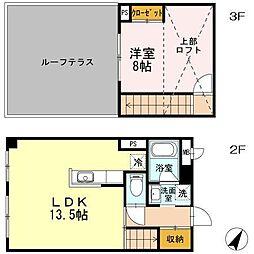 東急田園都市線 たまプラーザ駅 徒歩16分の賃貸マンション 2階1LDKの間取り