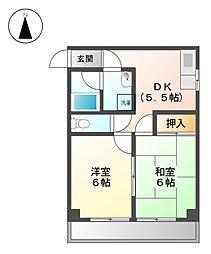 エステイト柴田[4階]の間取り