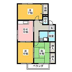 サンハイム北浦 B棟[2階]の間取り