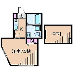 東急東横線 妙蓮寺駅 徒歩12分の賃貸アパート 2階1Kの間取り
