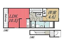 JR成田線 佐原駅 徒歩10分の賃貸アパート 2階1LDKの間取り