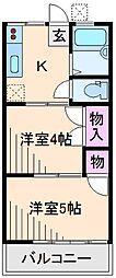 神奈川県横浜市港北区綱島東1丁目の賃貸アパートの間取り