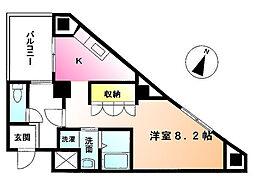 ジョイオブライフ鶴川 3階1Kの間取り