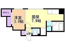 adamazein厚別南(アダマゼインアツベツミナミ) 5階1DKの間取り