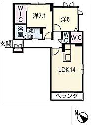 仮)リ ベルジェ II[2階]の間取り