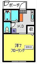二俣川駅徒歩8分 ボヌール101号室[1階]の間取り