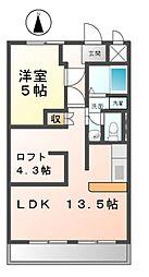 愛知県清須市西枇杷島町地領1丁目の賃貸マンションの間取り
