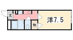 兵庫県姫路市飾磨区上野田の賃貸アパートの間取り