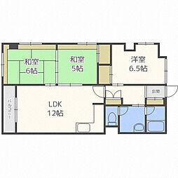 北海道札幌市中央区南十六条西12丁目の賃貸マンションの間取り