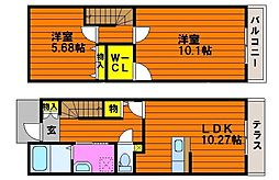 JR赤穂線 大多羅駅 徒歩16分の賃貸タウンハウス 2階2LDKの間取り