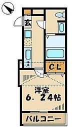 プラウランド京王堀之内[203号室]の間取り