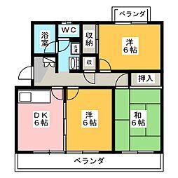 静岡県藤枝市高岡3丁目の賃貸マンションの間取り