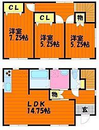 [一戸建] 岡山県倉敷市宮前 の賃貸【/】の間取り