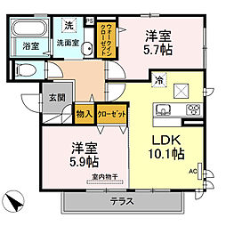 D-room可部3丁目B棟[302号室]の間取り