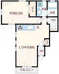 東京都目黒区八雲3丁目の賃貸アパートの間取り
