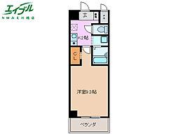 近鉄名古屋線 霞ヶ浦駅 徒歩10分の賃貸マンション 6階1Kの間取り