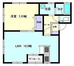秋田県横手市三本柳字寺田の賃貸アパートの間取り