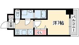 ファーストステージ北大阪レジデンス 9階1Kの間取り