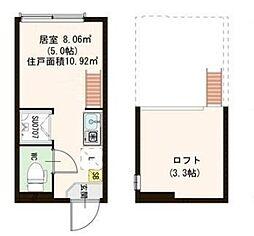 東京都北区滝野川3丁目の賃貸アパートの間取り